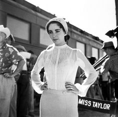 Elizabeth Taylor on the set of Giant photographed by Sid Avery, Marfa, Texas, 1955 https://www.facebook.com/alwaysbevintage
