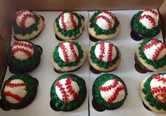 Little baseball cupcakes