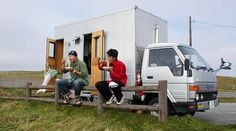 Japanese Pals Recycle Old Truck into Transforming Two-Story Mobile Home