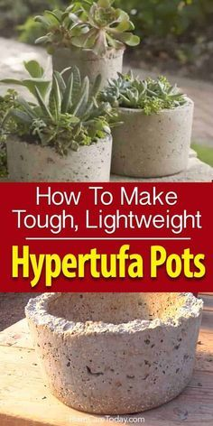 Hypertufa - create lightweight, sturdy, attractive stone pots, planters and ornaments for the garden and home using cement, peatmoss & perlite [LEARN MORE] Concrete Plant Pots, Cement Flower Pots, Diy Concrete Planters, Cement Art, Concrete Crafts, Concrete Projects, Concrete Garden, Diy Planters, Garden Planters