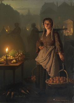 """The early birds get the favored locations.  Not only is the light commanding, so is the morning mist.  """"Market by Candlelight,"""" Petrus van Schendel"""