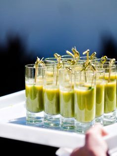 hors d'oeuvres that give a nod to the tomato farm, like green gazpacho shooters