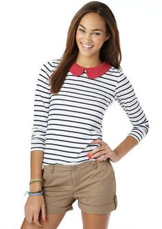 Long-sleeve striped top with Peter Pan collar. {dELiA's - $24.50}