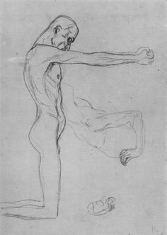 Kneeling Male Nude With Sprawled Out Arms, Male Torso by @artistgklimt #artnouveau