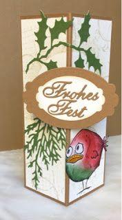 Kerstin's kleine Bastelwelt: Ein Crazy Bird an der Ecke, decorative corner card, dekorative Faltkarte, Weihnachten, Christmas