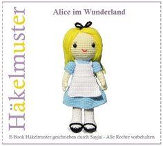 Alice im Wunderland, PDF Amigurumi Häkelanleitung  von K&J Dolls Häkelanleitungen auf DaWanda.com