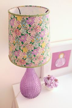 vintage lamp with new lampshade - recover old lampshade with new liberty print fabric for a cute look!