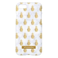 Trendy Gold Pineapples on White Marble iPhone 7 Case - chic design idea diy elegant beautiful stylish modern exclusive trendy