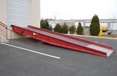 Portable steel yard ramps are the most popular and most cost effective yard ramp option for loading and unloading with a forklift when there is no installed loading dock. They are more durable and will have a longer life than aluminum yard ramps. Car Ramp, Loading Ramps, Shop Ideas, Disability, New Construction, 20 Years, Weights, Warehouse, Yard