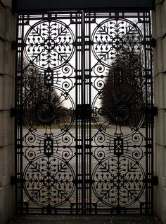 """Trust in dreams, for in them is hidden the gate to eternity. Metal Gates, Wrought Iron Doors, Tor Design, Gate Design, Portal, Steel Gate, Art Nouveau, Grades, Cool Doors"
