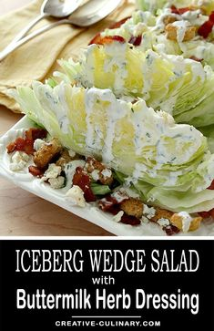Don't give up on iceberg lettuce just yet. There is nothing quite like a crisp cold wedge of it in a salad like this Iceberg Wedge Salad with Bacon Croutons and Buttermilk Herb Dressing. via Creative Culinary Lettuce Salad Recipes, Easy Salads, Healthy Salad Recipes, Best Side Dishes, Side Dish Recipes, Iceberg Wedge Salad, Lettuce Wedge, Buttermilk Dressing, The Best
