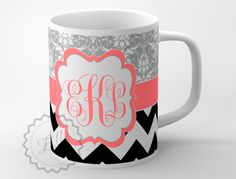 Custom Coffee cup - Black chevron and Gray Floral pattern with Coral monogram custom name or initials, personalized mug + FREE COASTER