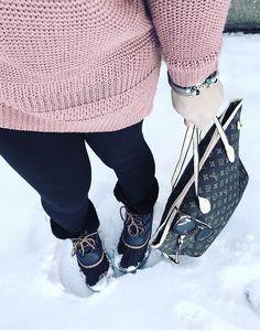 Pink sweater, snow day, Louis Vuitton bag, sorel boots