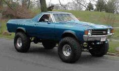 El Camino with monster truck tires. Lifted Chevy Trucks, Chevy Diesel Trucks, Custom Trucks, Cool Trucks, Pickup Trucks, Cool Cars, Dually Trucks, Monster Car, Monster Trucks