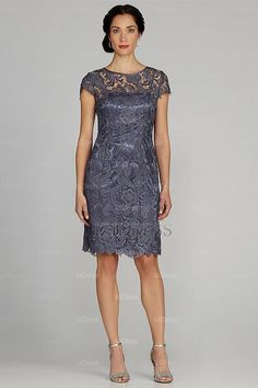 Sheath/Column Jewel Knee-length Lace Mother of the Bride - IZIDRESSES.com at IZIDRESSES.com