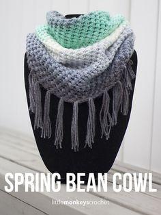 Spring Bean Cowl Crochet Pattern | Little Monkeys Crochet, free pattern, infinity, #haken, gratis patroon (Engels), col, sjaal, colsjaal, #haakpatroon