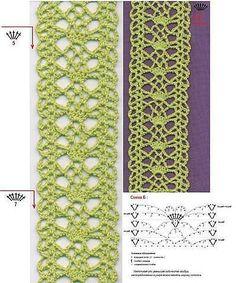 crochet kingdom (E.H): Turquoise Crochet Tunic ♥ Crochet Lace Edging, Crochet Diy, Crochet Tunic, Crochet Borders, Crochet Diagram, Crochet Chart, Crochet Scarves, Irish Crochet, Crochet Clothes