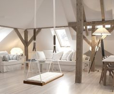 everybody needs an indoor swing!.. I think I'd like mine to be comfy.. More of a hammock or wicker egg chair