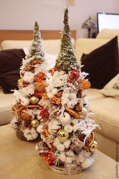 Купить Апельсиновая елочка - оранжевый, белый, настольная елка, оригинальные…