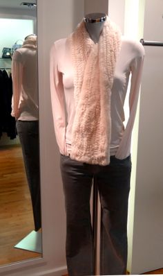 Marc Cain top – £95, Marc Cain fur scarf – £265, Marc Cain jeans – £159. Available at Sister
