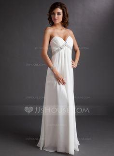 Empire Sweetheart Floor-Length Chiffon Wedding Dress With Ruffle Beading (002011702)