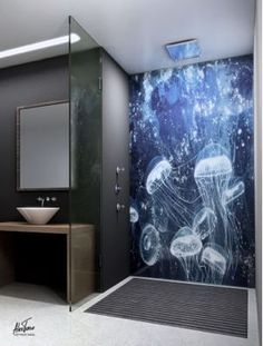 This shower backsplash is beautiful with an Alex Turco Art Panel! Name: Blue Poison