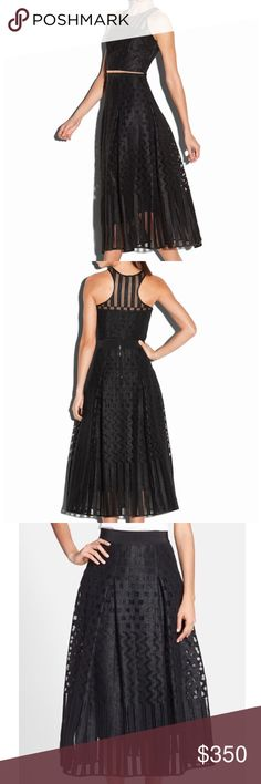 MILLY Illusion Jacquard ball skirt+top. NWT. Outstanding 2 piece dress. Can be worn together or separate. I wish this was my size. Such a beautiful piece. Milly Dresses Midi