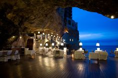 Italian Cave Restaurant with an awesome view that attract the attention of people at once. Hotel Restaurant is seriously beautiful and stunning. Wedding Venues Italy, Unique Wedding Venues, Italy Wedding, Wedding Locations, Unique Weddings, Destination Wedding, Weddings In Italy, Wedding Destinations, Wedding Themes