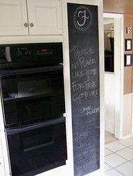 House of Ficek: Kitchen Chalkboard Wall Chalkboard Wall Kitchen, Kitchen Wall Quotes, Chalkboard Wall Bedroom, Restaurant Booth Seating, Dresser In Living Room, Minecraft Bedroom, Kitchen Wall Colors, Dark Furniture, Kid Desk