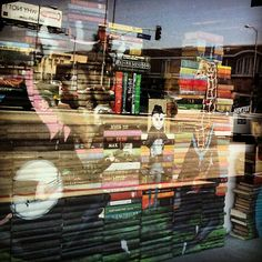 Art in the window of Amoeba Music made of 1,000 books by Mike Stilkey - Fantastic Five - #books #art #music