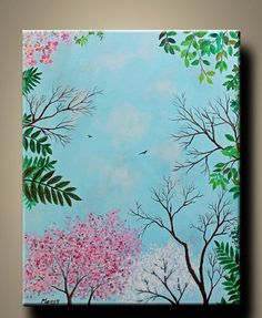 looking up,Spring,flying birds,cherry blossom - 20x16inch original modern painting, on stretched canvas, ready to hang