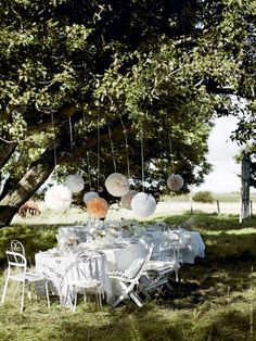 To Do List ..!.. outdoor lunch amongst the trees & pom poms ... Oui Oui