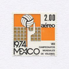 8th World Championships Volleyball (2.00). Mexico, 1974. Design: Manuel Villazon. #mnh #graphilately