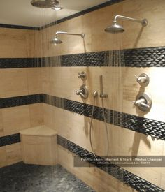 River rock floors :: a massage & shower all-in-one (on A Detailed House)