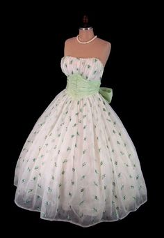 Vintage 1950's 50's Ivory Chiffon Green Floral Embroidered Strapless Cocktail Party Wedding Dress XS
