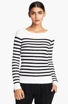 Oscar de la Renta Sequin Stripe Sweater available at #Nordstrom