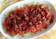 BLT Dip - this version is simpler & is served cold.n I'd have to go without the bacon, but this sounds awesome & easy!
