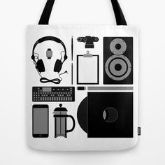 Objects Tote Bag #speaker #headphones #op1 #frenchpress #leica #iphone6 #everydayobjects #graphicdesign #fashion #illustration #rickardarvius #totebag #society6 #society6store