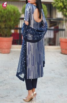 Shop Navy Blue and Silver Padded Pure Crepe Kurti with Blue Cotton Silk Pants and Blue Net Mirror Work Net Stole - Kurti Sets Online in India Casual Indian Fashion, Indian Fashion Dresses, Dress Indian Style, Look Fashion, Indian Outfits, Ladies Suits Indian, Indian Dresses For Women, Kurta Designs Women, Salwar Designs