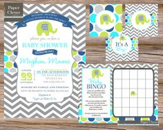 Boys room colors  , I found this really awesome Etsy listing at https://www.etsy.com/listing/86882666/modern-elephant-baby-shower-invitation