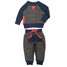 Miki Miette Boys Raglan Tee with Pocket Sweats Gray