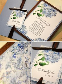 My wedding invitations- not the final product - Baby Blue and Navy.
