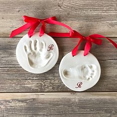 Items similar to Baby Footprint - Baby handprint - Baby Footprint Kit - Baby Handprint Kit - Personalized Baby Heirloom - baby footprint ceramic - Hand print on Etsy Baby First Christmas Ornament, Baby Ornaments, Babies First Christmas, Christmas Ornaments, Baby Boy Monogram, Monogram Gifts, Baby Handprint Kit, Baby Footprints, Baby Kit