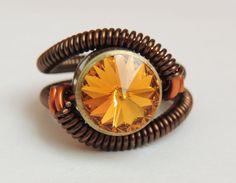 bullet casing ring steampunk jewelry swarovski crystal  by keoops8, $36.00