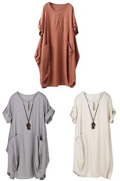 383f513f6c Minibee Women s Ruffle Loose Casual Midi Dresses with Pockets