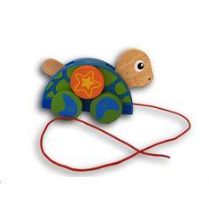 Houten trekfiguur Schildpad