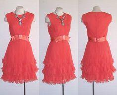 60s Dress MISS ELLIETTE Vintage Rosey Orange Lettuce Leaf Hem Pleated Dress M Free Domestic and Discounted International Shipping