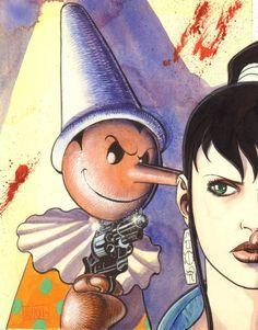 """Copertina per il numero de """"L'Insonne"""" (http://it.wikipedia.org/wiki/L%27Insonne) dal titolo """"Pinocchio"""" disegnata nel 1994 da Marco Nizzoli (http://it.wikipedia.org/wiki/Marco_Nizzoli)."""