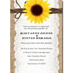 Rustic Burlap & Sunflower themed invitation. Perfect for engagement, bridal shower, or other similar themed party.