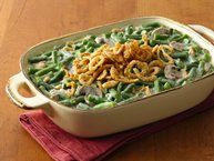 This Green Bean Casserole recipe can be made using the green beans and cream of mushroom soup found in the pantry. Just add milk and fried onions to make for a simple side dish.